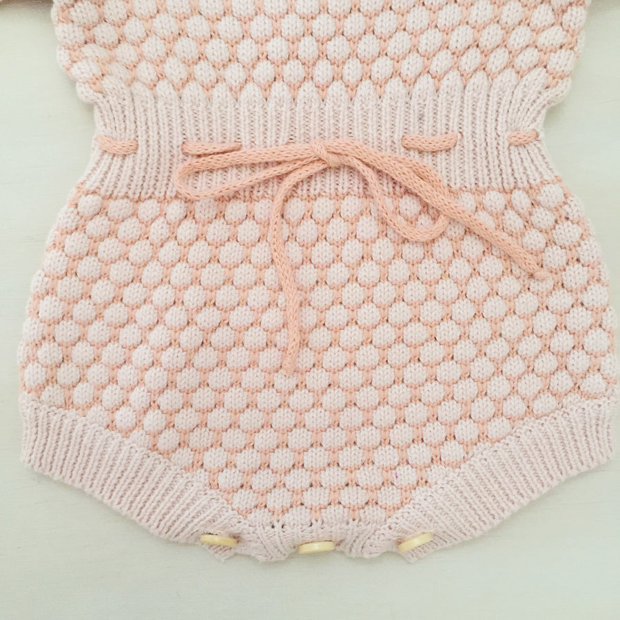 Honeycomb Knitted Romper - PEACH