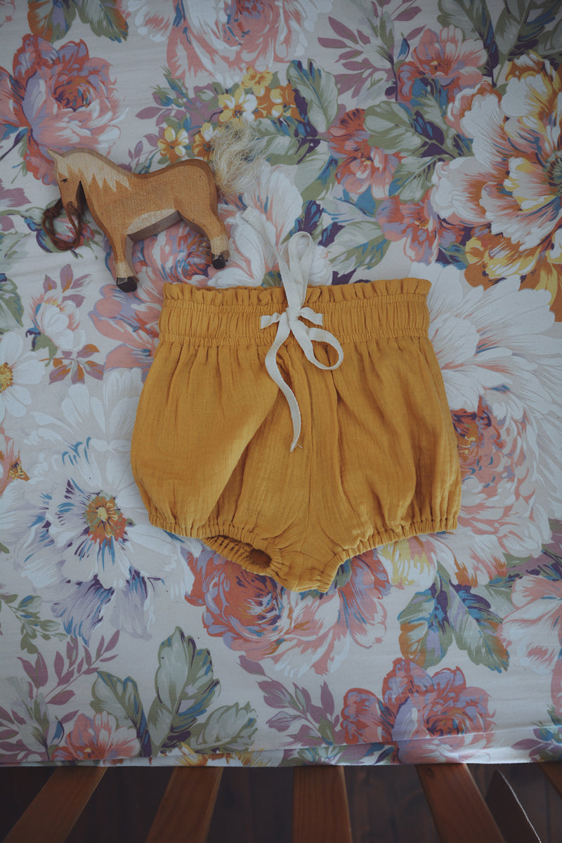 COTTON MUSLIN Paperbag Shorts - MUSTARD