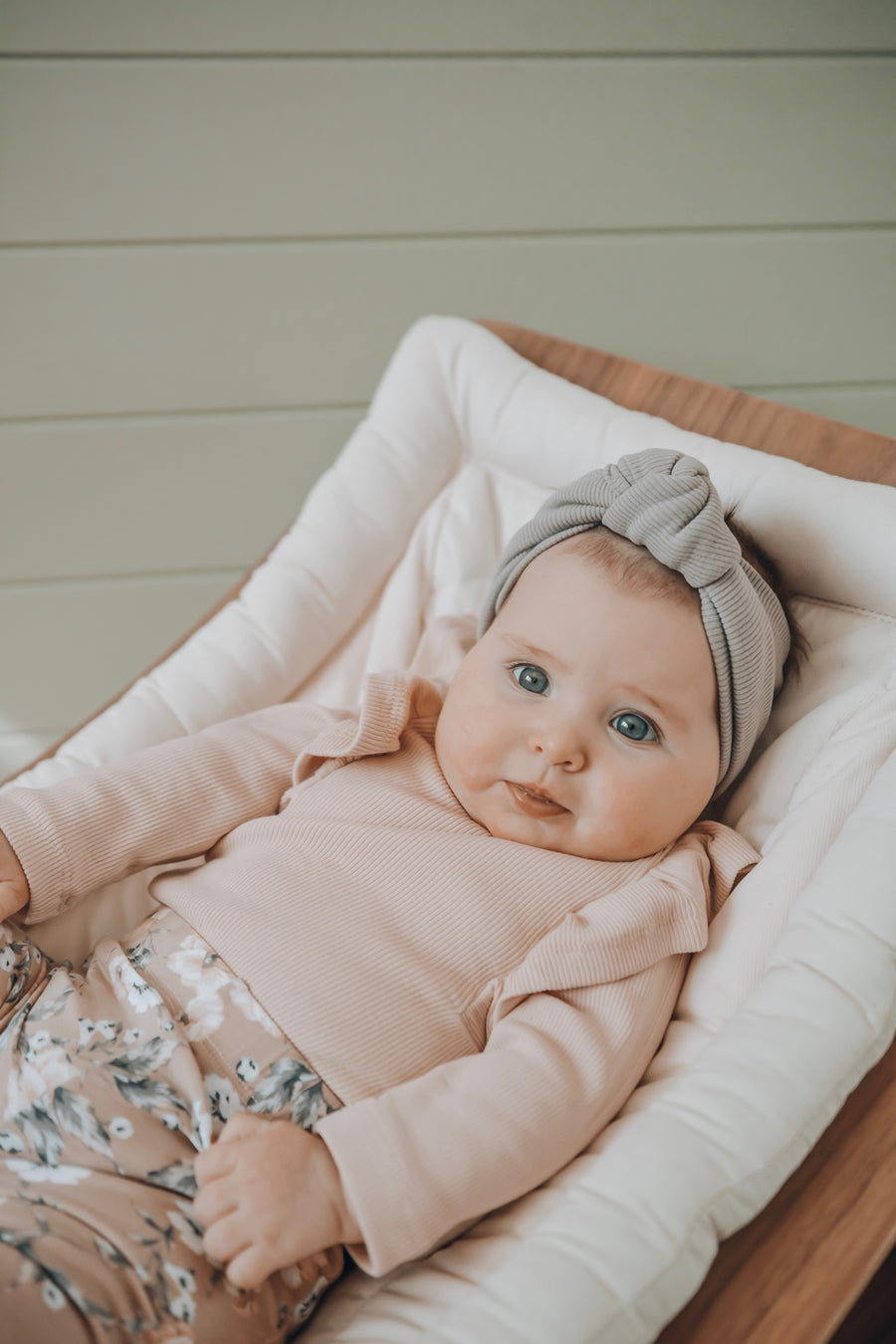 BASICS Shimmy Ribbed Long Sleeve Onesie/Top - BLUSH