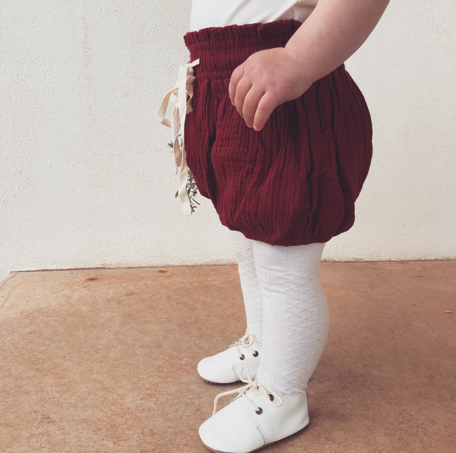 COTTON MUSLIN Paperbag Shorts - WINE