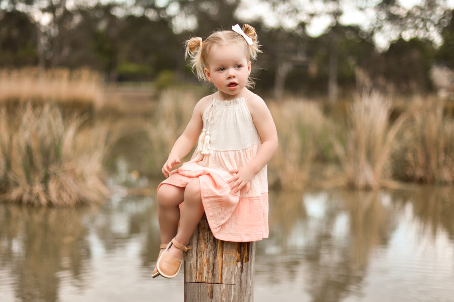 COTTON MUSLIN Dress - PEACH