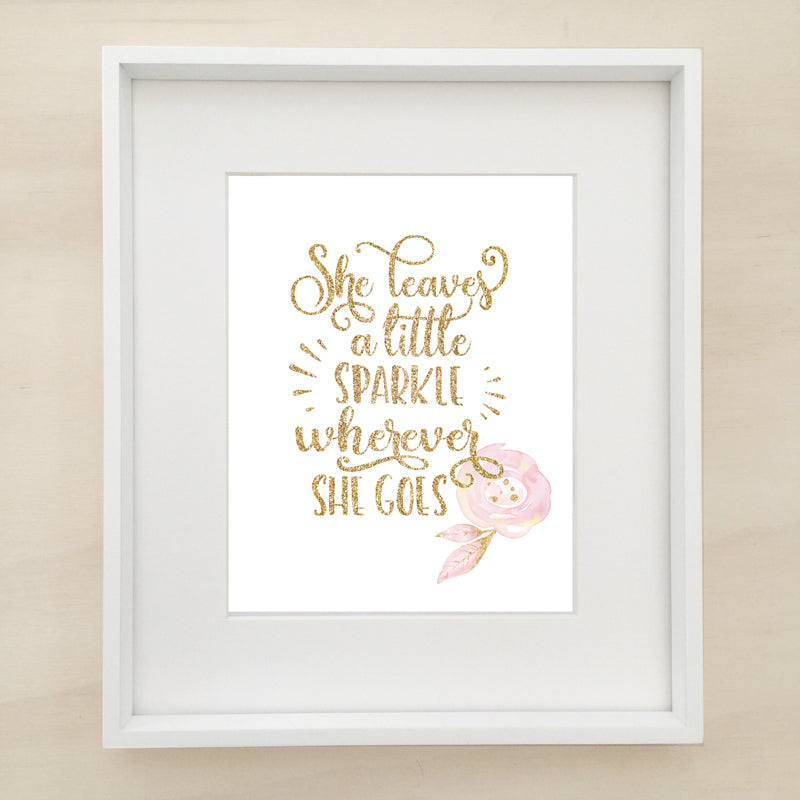 She Leaves A Little Sparkle Trio Personalised Printable Artwork