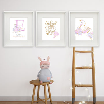 She Leaves A Little Sparkle Trio Personalised Printable Artwork PURPLE