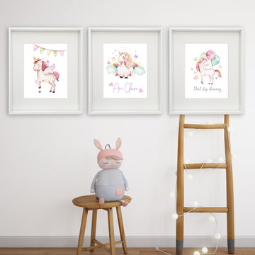 Unicorn Trio Personalised Printable Artwork