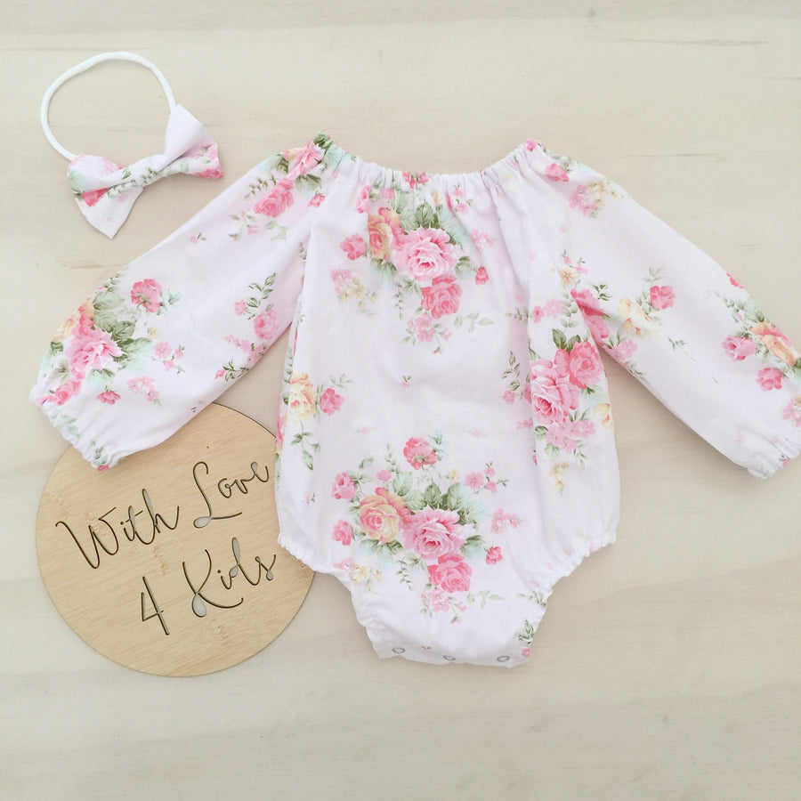 Sweet Gemma Long Sleeve Playsuit 2 Piece Set - PINK