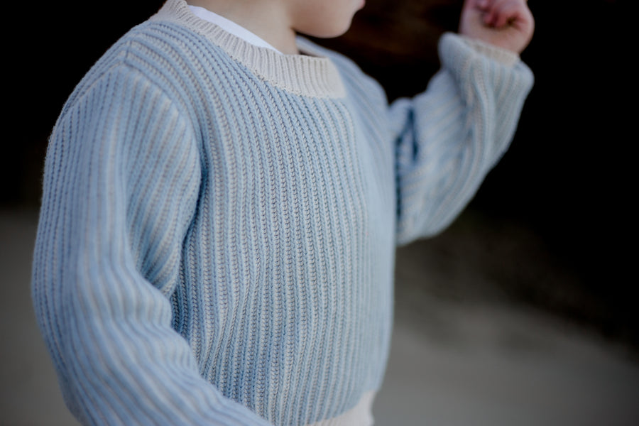 Striped Knitted Jumper - BONE/DUSTY BLUE