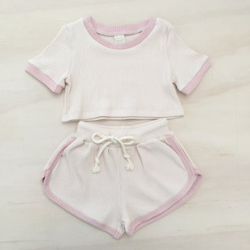 Ribbed Comfy Set - EGGSHELL & BLUSH