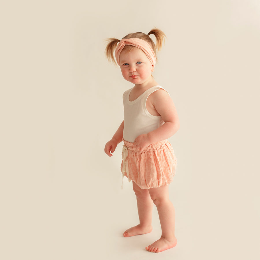 COTTON MUSLIN Paperbag Shorts - DUSTY PEACH