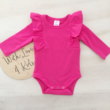 Shimmy Long Sleeve Onesie/Top - FUCHSIA