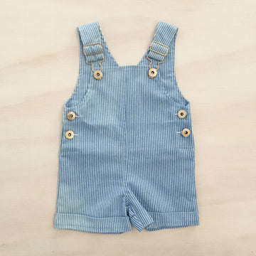 Everett Short Overalls - DENIM PINSTRIPE