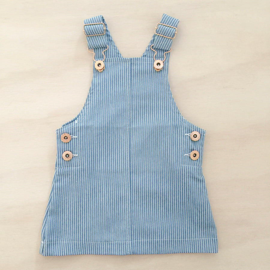Hazel Pinafore Dress - DENIM PINSTRIPE
