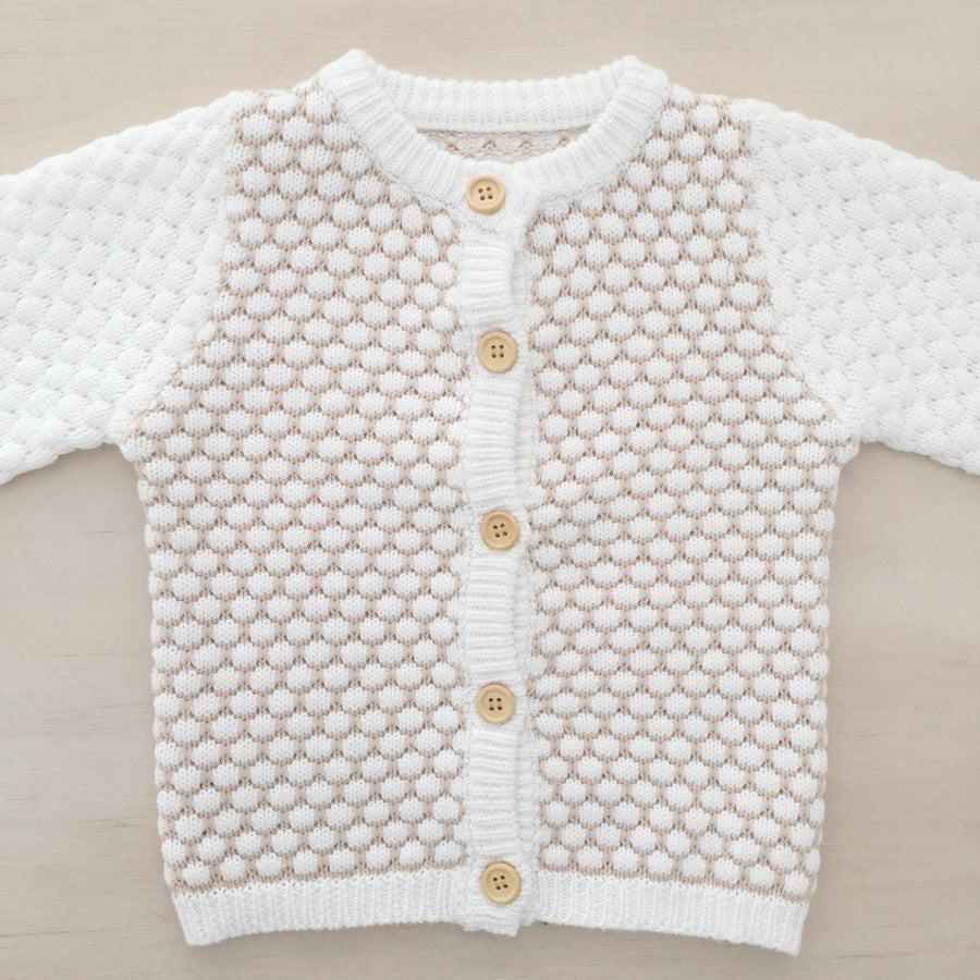 Honeycomb Knitted Cardigan - MILK/LATTE