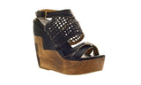 Bed Stu Women's Black Rustic Petra Wedge Sandal US