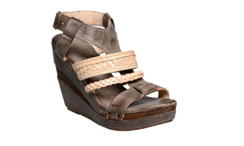 Bed Stu Women's Jaslyn Taupe Sand Rustic Wedge