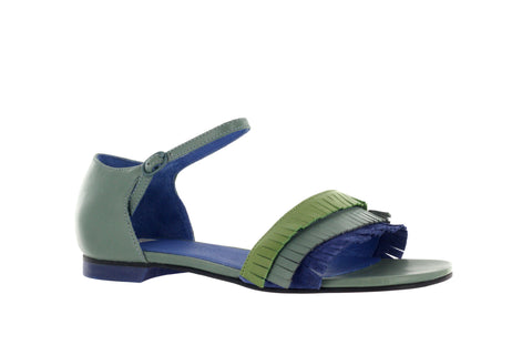 Camper Women's Blue/Green Twins Ankle Strap Sandal US
