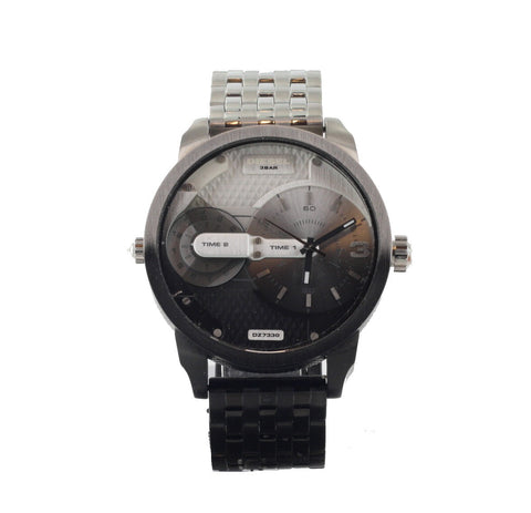 Diesel Men's Black Mini Daddy Stainless Steel Dual Time Watch