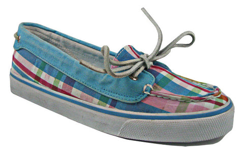 New Sperry Womens Blue Rainbow Plaid 2-Eye Boat Shoes US SIZES