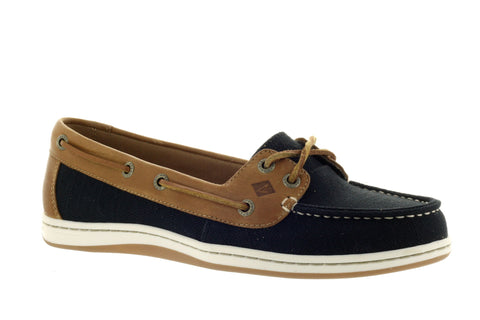 Sperry Women's Firefish Black Canvas Nubby Boat Shoe US