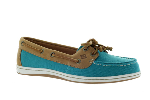 Sperry Women's Firefish Teal Canvas Nubby Boat Shoe US