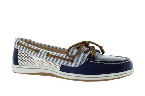 Sperry Women's Firefish Navy Stripe Mesh Boat Shoe US