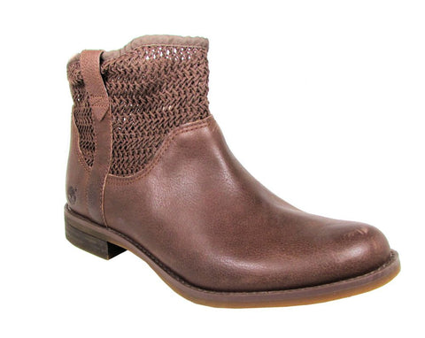 Timberland Women's Dark Brown Savin Hill Open Weave Ankle Boot US