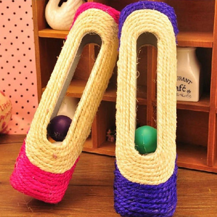 Cat Toy Pet Cat Kitten Kitty Toy Rolling Sisal Scratching Post with Trapped Ball - Pet26072020