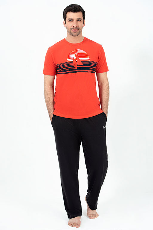 Jockey® Cotton Half Sleeves Red Flame Crew Neck Shirt