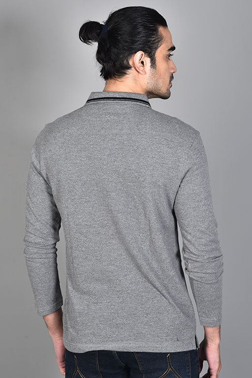 Jockey® Cotton Full Sleeves Grey Polo Shirt