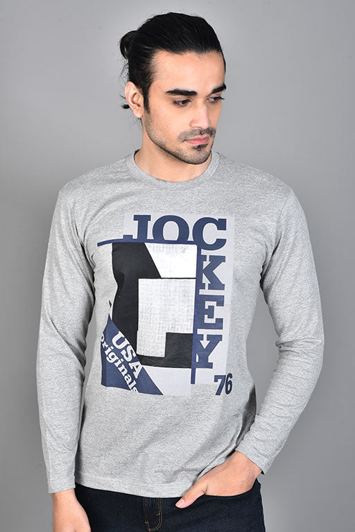 Jockey® Cotton Full Sleeves Grey Heather Crew Neck Shirt