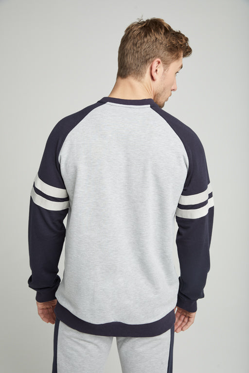 Jockey® Full Sleeves Heather Grey Navy Crew Neck Shirt