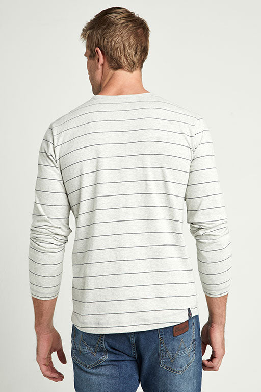 Jockey® Full Sleeves Heather Grey Navy Henley Shirt