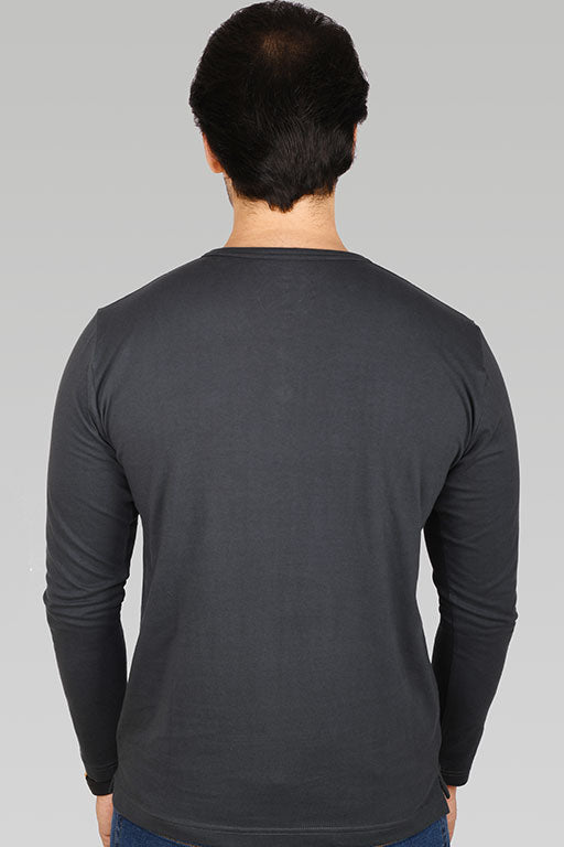 Jockey® Cotton Full Sleeves Dark Iron Henley Shirt