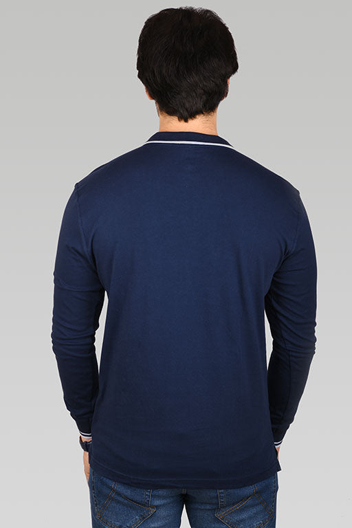 Jockey® Cotton Full Sleeves Navy Polo Shirt