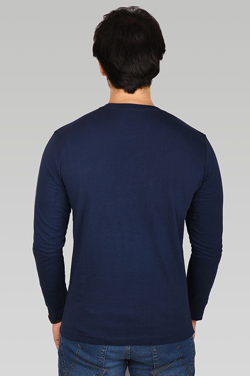 Jockey® Cotton Full Sleeves Dark Iris V-Neck Shirt