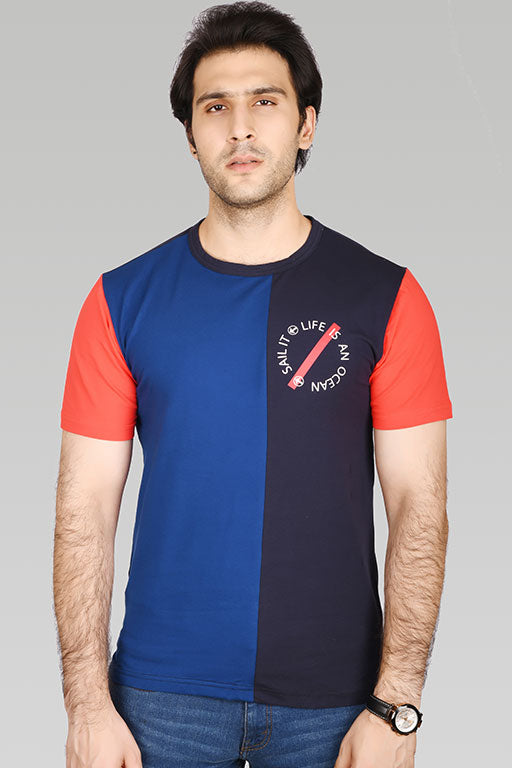 Jockey® Cotton Half Sleeves Navy Red Crew Neck Shirt