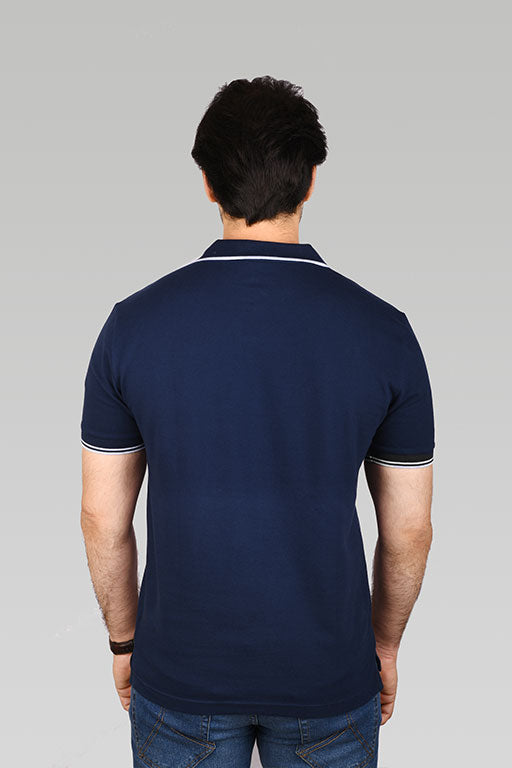Jockey® Cotton Half Sleeves Navy Polo Shirt