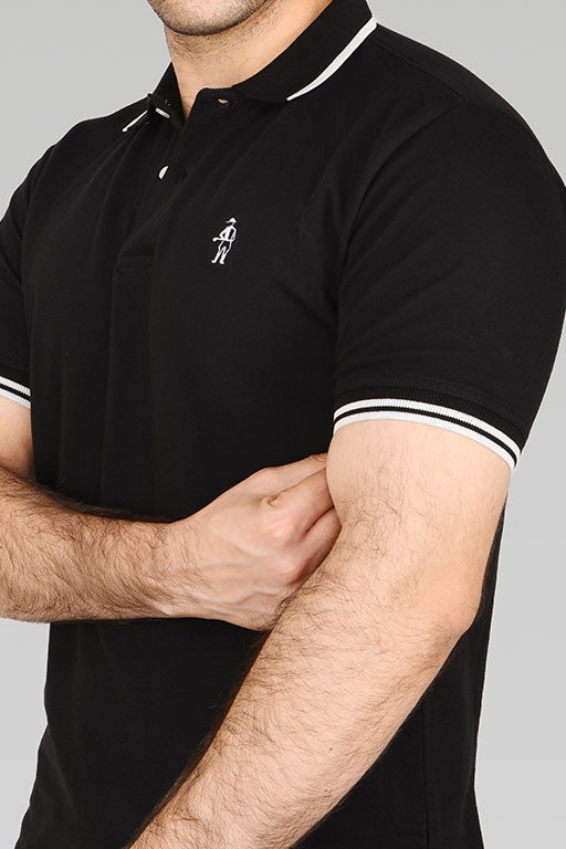 Jockey® Cotton Half Sleeves Black Polo Shirt