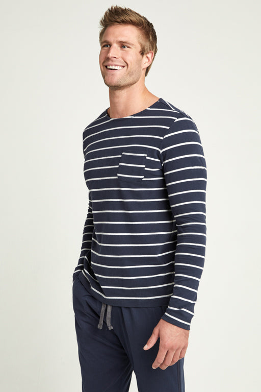 Jockey® Full Sleeves Navy Heather Grey Yarn Dyed Crew Neck Shirt