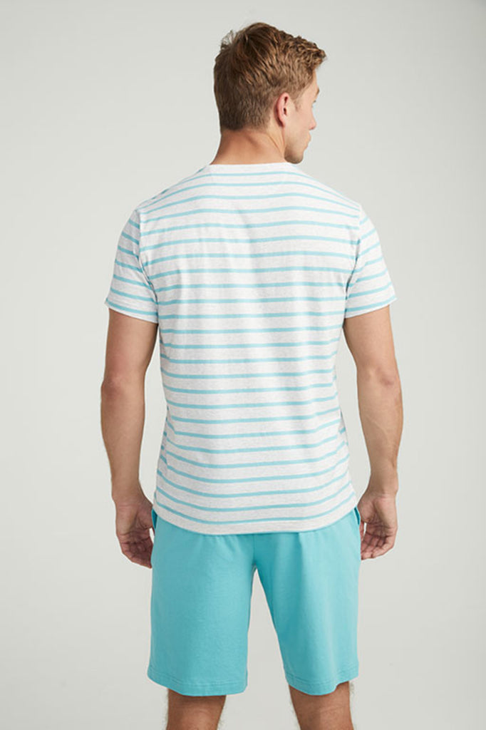 Jockey® Cotton Half Sleeves Grey Heather Aqua Sea Crew Neck Shirt