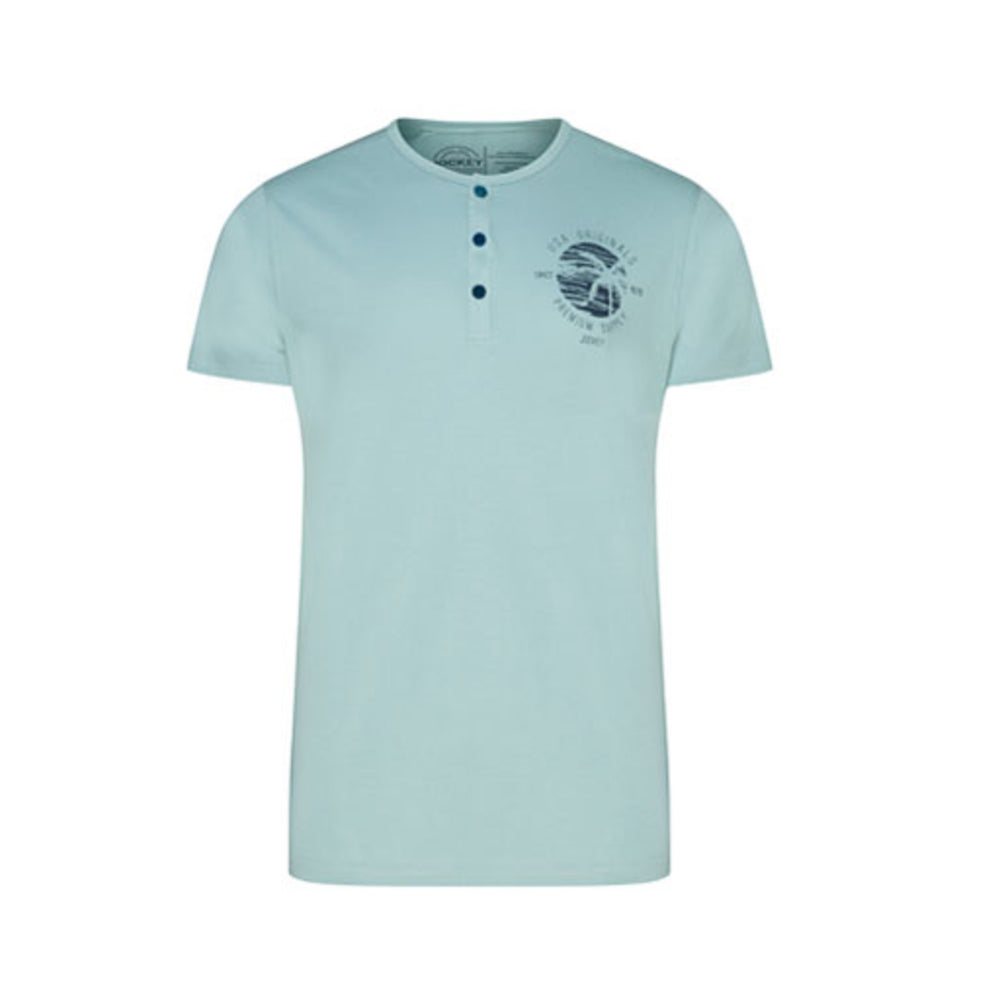 Jockey® Cotton Half Sleeves Stone Blue Henley Shirt
