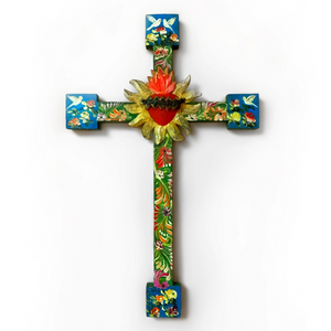 Sacred Heart Hand-Painted Cross (Large)