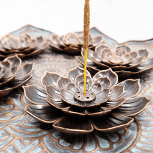 Load image into Gallery viewer, Bronze Lotus Love Incense Holder