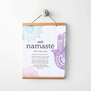 'Namaste' Print on High Quality Canvas with DIY Magnetic Frame