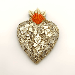 Rustic Timber White Heart with Silver Milagros