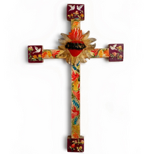 Load image into Gallery viewer, Sacred Heart Hand-Painted Cross (Large)