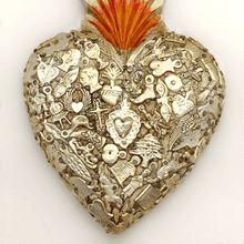 Load image into Gallery viewer, Rustic Timber White Heart with Silver Milagros