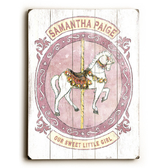 Carousel Horse Wood Sign - Personalized