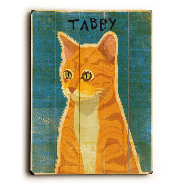 Tabby Cat - Orange Wood Sign