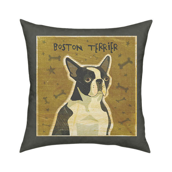 Boston Terrier Sophisticated Throw Pillow