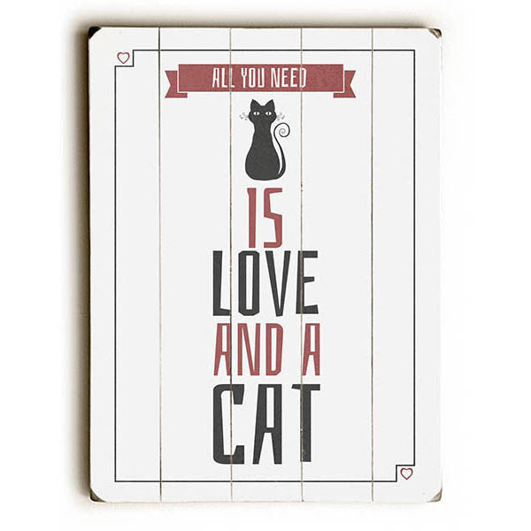 Love and a Cat Wood Sign